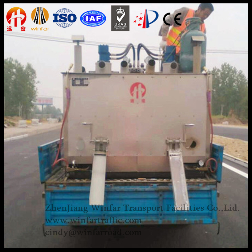 Truck mounted Hydraulic double cylinder Thermoplastic Road Marking Machine-pre-heater