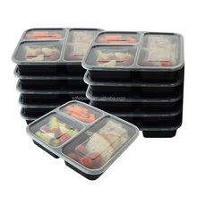 32 oz Clear Plastic Container with 3 Compartment Black Insert Tray and Clear Lid