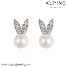 93192 rabbit head shaped fake fancy indian pearl no hole unique stud earrings stand