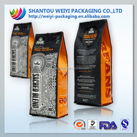 customized plastic stand up pouch aluminum foil kraft paper coffee packaging bag with coffee vale 250g 500g 1000g 1kg 3kg