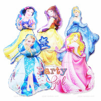High Quality Large size 55*90cm lovely princess shaped foil helium balloons for kids birthday toys