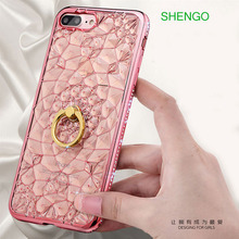 Diamond Flower Shell Ring Holder Creative Rhinestone Cell Phone Case
