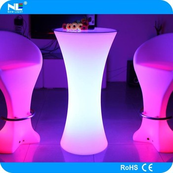 2014 plastic high top led cocktail table and chairs for bar and party