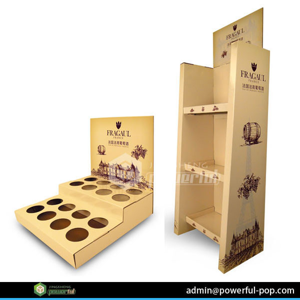cardboard display wine rack supermarket,cardboard wine display shelf, cardboard wine bottle display rack