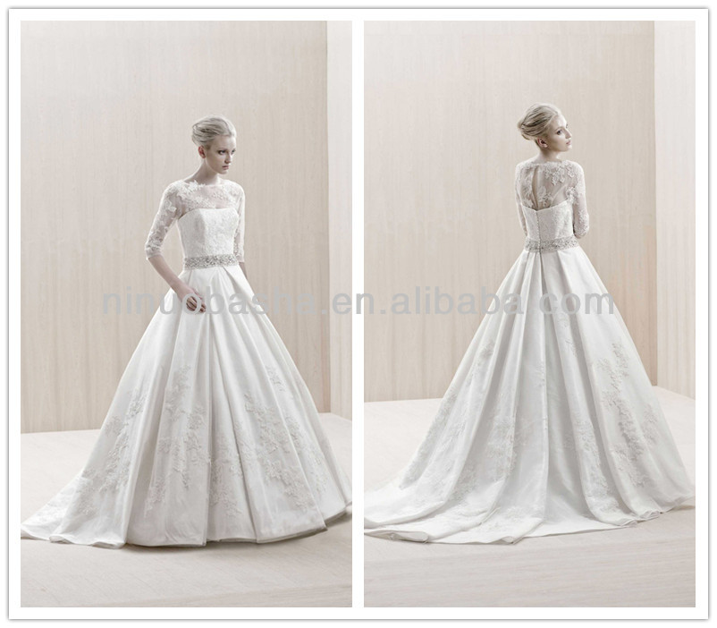 New Arrival 2014 Jewel Neck Sheer 3/4 Long Sleeve Keyhole Back Beaded Sash Lace Ball Gown Wedding Dresses Gowns NB0138