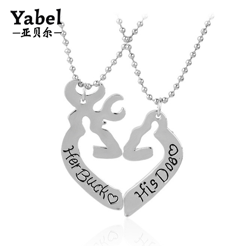 2017 Hot Couple Necklaces Love Heart Elk Chain Necklaces For Christmas