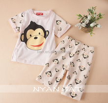 Wholesale monkey cotton short sleeve kids clothes suit