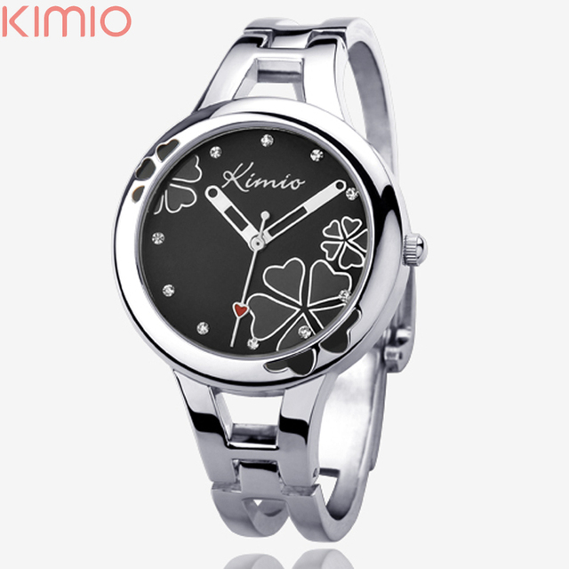 Hot Sell Brand Kimio Bracelet Watch Silvery Flower Face with Rhinestone Quartz Full Steel Watches for Lady Hours Clocks