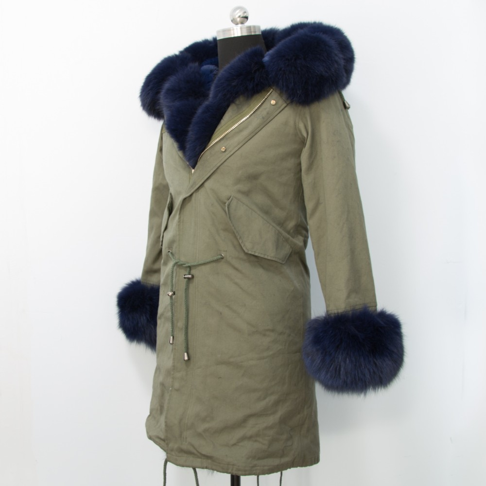 Russion style army green fox fur parka jacket for women