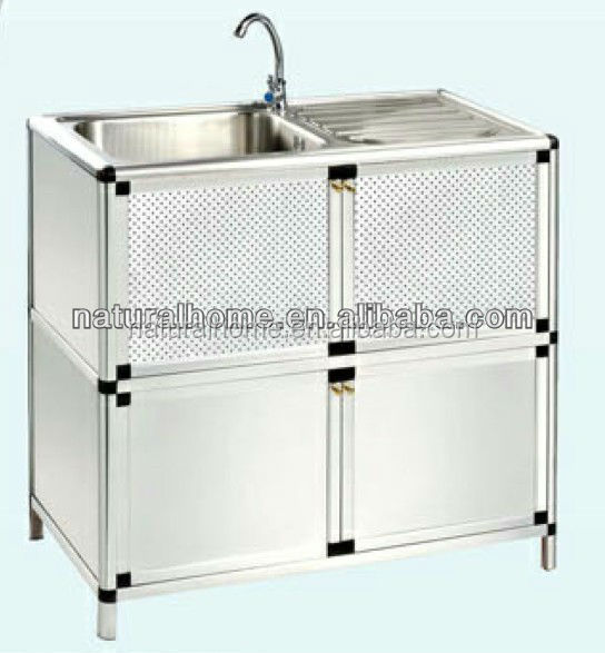 modern Kitchen furniture high quality stainless steel water sink aluminium kitchen cabinet