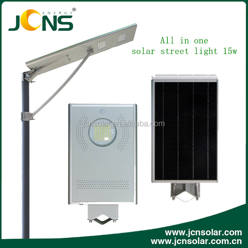 JCN Solar power battery backup 15watts all in one solar led street lamp with competitive price