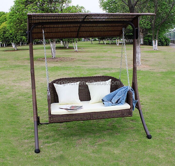 classic vintage rattan outdoor furniture with curved canopy and armchair adult swing set