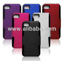 Hybrid Layer soft Silicone hard Plastic Mesh Net cases For Blackberry 10
