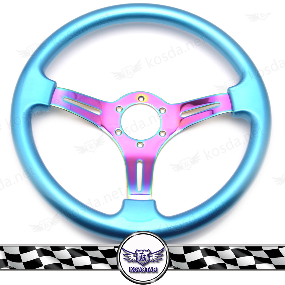 Automobile 350mm Neochrome Spoke JDM Deep Dish ABS Steering Wheel