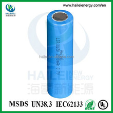Factory price rechargeable battery ICR1800 /2000 /2200 /2400 /2600mah battery 18650