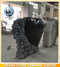 Haobo Stone Heart Shaped Memorials With Hand Carved Flowers in Vizag Blue