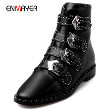 Italian fashion cow leather most beautiful buckle women winter boots