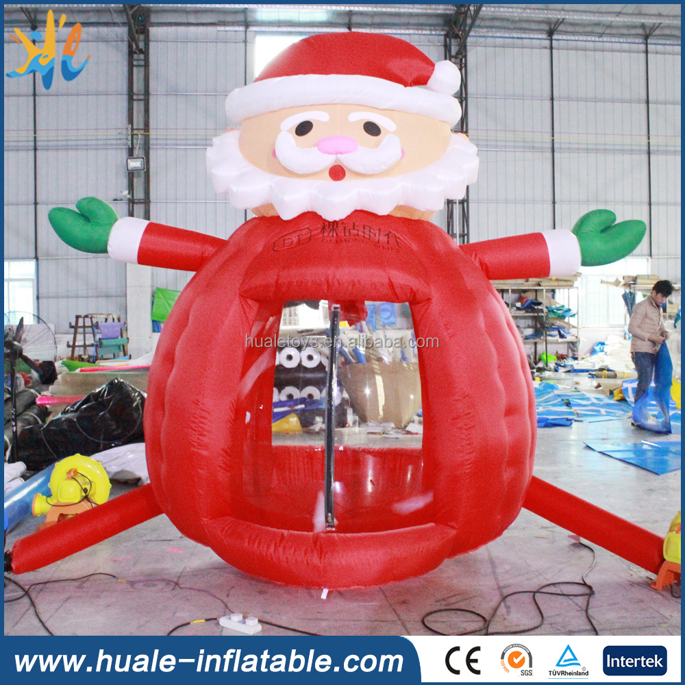 Promotional inflatable Christmas santa claus money booth for advertisment