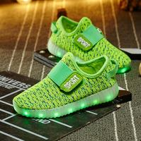 Children boys flashing canvas and mesh sport shoes/running shoes with light up for kids