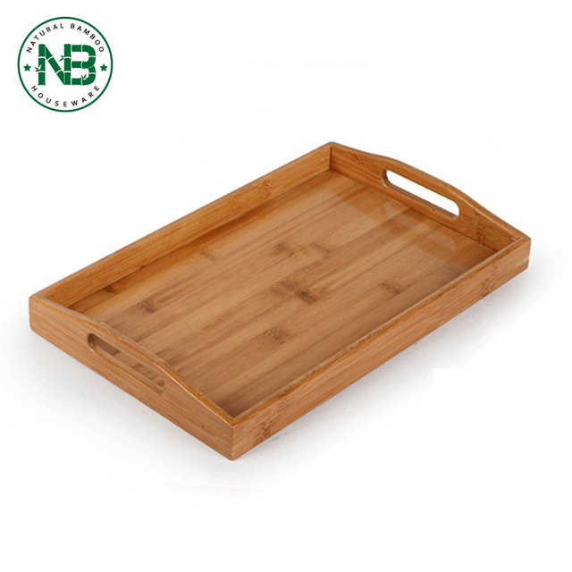 Bamboo cheap wholesale restaurant serving tray size with Handles