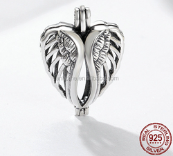 Sterling Silver Angel Wings Pendant with Pearl Cage