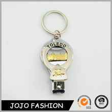 Multifunctional bottel opener metal keychain fashion nail clipper keychain with bottle opener function