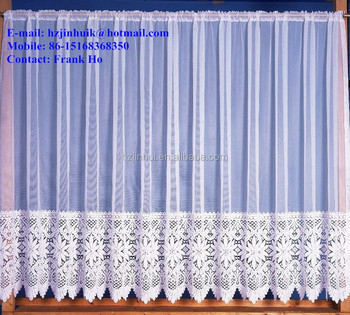 modern plain top thick heavy floral border white crochet lace net curtain