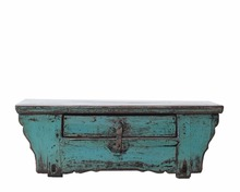 Antique bedroom furniture restored blue lacquered kang table