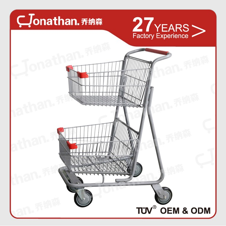 80L supermarket hand push food cart 2 tier cheap shopping trolley