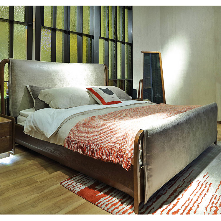 Diseño moderno de alta calidad natural madera maciza cama de ...