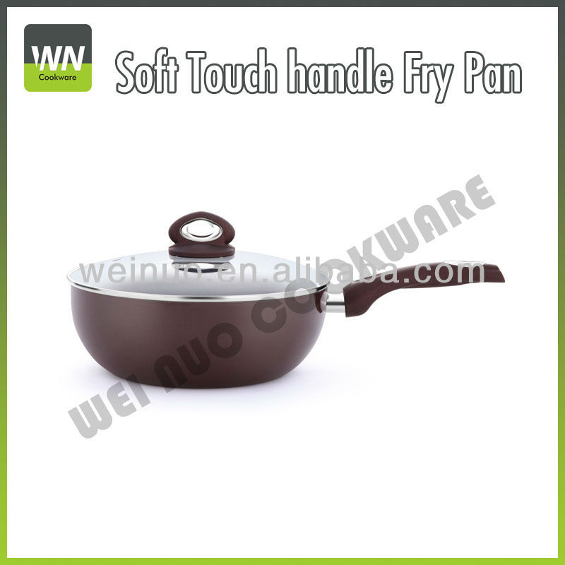Aluminum Soft touch handle Fry Pan W/ Glass lid