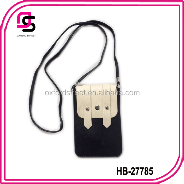 2014 fashion lady girls black and white PU mobile phone pouch