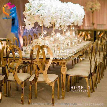luxury new design rectangle tempered glass top crystal wedding dining stainless steel table and chair sets
