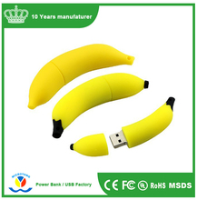 Soft PVC banana shaped custom flash drive usb keychain 1gb 2gb 4gb 8gb, fruit soft pvc usb drive
