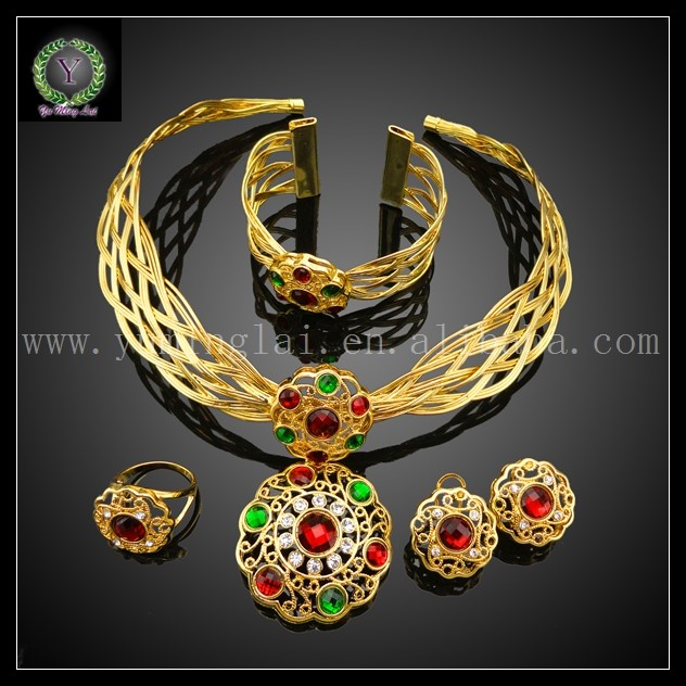 Hot Sale African REAL 24K GOLD PLATED Jewelry Set Wedding Jewelry set Big Jewelry set EHK240