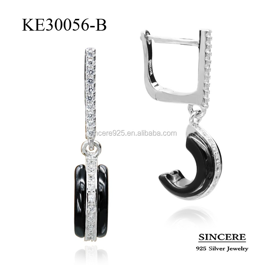 latest design ceramic and silver earrings with English lock