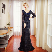 YSQ 2018 navy blue summer evening dress sexy mermaid long sleeve elegant lady dress