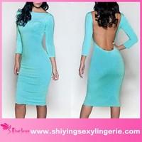 Elegant fashion backless wholesale long sleeve light blue formal dress