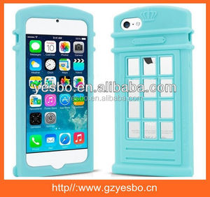 Hot sale 2014 newest Telephone Booth London Design Silicone Back Case For iPhone 5 5S