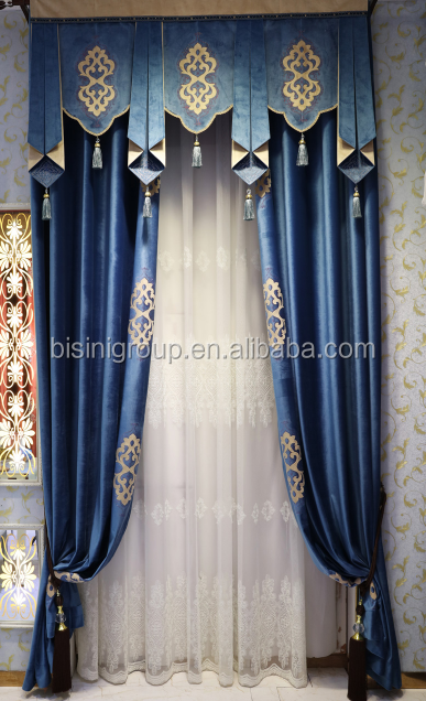Interior Grandeur Classic Mediterranean Style Royal Blue Curtain and Valance with Golden Decorations BF11-11283b
