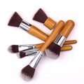 bamboo handle makeup brush 6pcs wood cosmetic makeup brushes kit