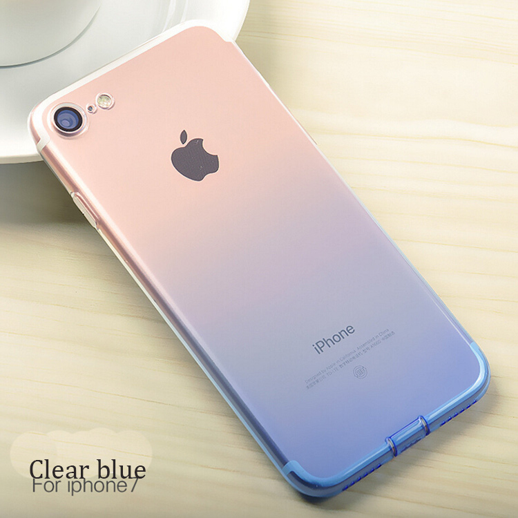DFIFAN For iPhone7 Slim Case Bulk Factory Gradient Color Changing Dust Plug Multi Color Cases for iPhone 7 tpu
