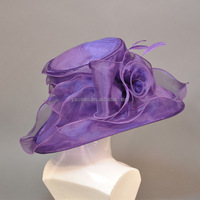 ladies fancy elegant purple organza church hats for sale
