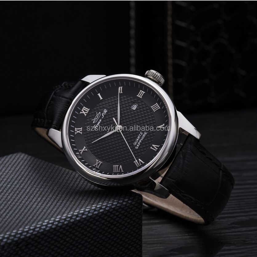 Black High Quality Leather Strap Stainless Steel Sapphire Quartz Fashion Watch