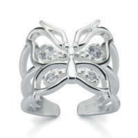 Magnificent women's fashion 925 sterling silver hollow butterfly imitation diamond open ring