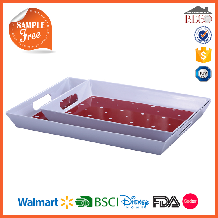 Melamine Tableware Factory Plastic Melamine Serving Tray with Handle