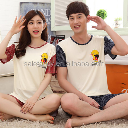 Small yellow chicken couple summer cotton footed pajamas women men QSAO-1569