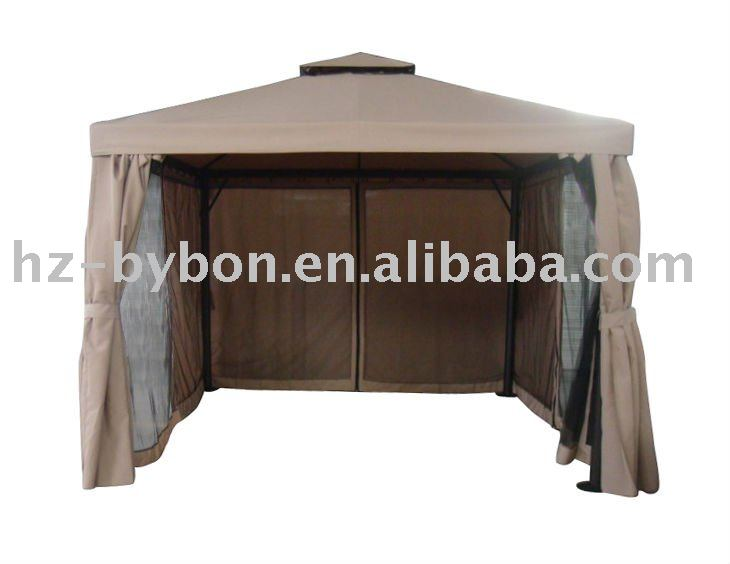 2-Top Steel Gazebo, With Bug Net and Wall Curtain