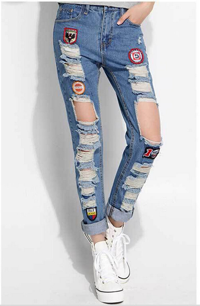 Light-colored loose hole jeans female summer stretch cotton casual fashion beggar women ripped denim trousers Straight pants
