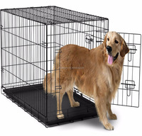 Double-Door Easy Folding Metal Pet Crate for Dogs, Cats, Rabbits - Various Sizes